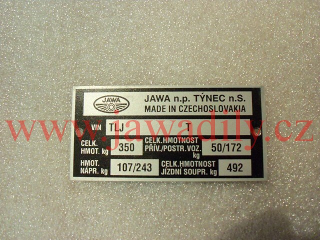 Typový štítek - Jawa 640