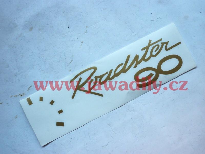Nálepka na boční schránku, zlatá - Jawa 90
