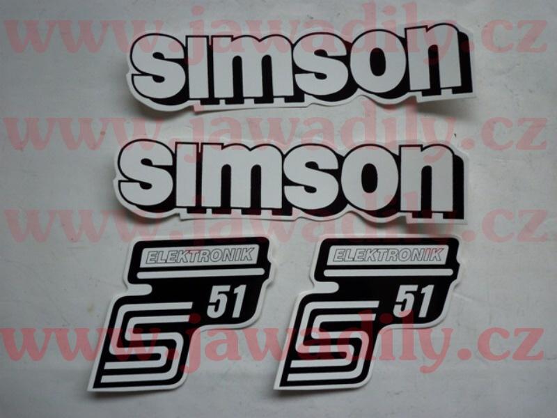 Sada samolepek 4ks (bílá) - Simson S51 Elektronik