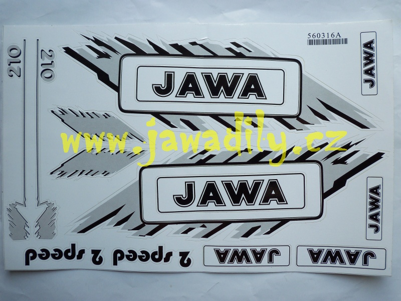 Nálepky JAWA (Babetta) - stříbrná