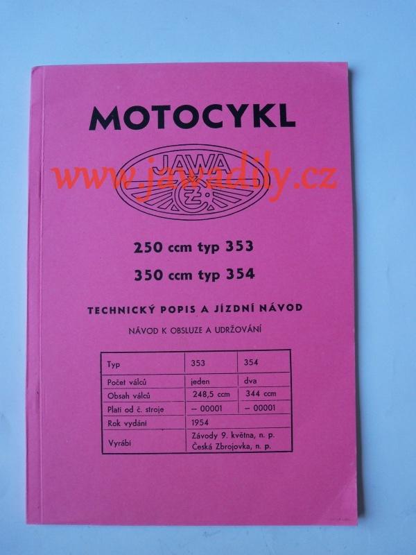 Návod k obsluze - Jawa 250,350 Kývačka - 1954