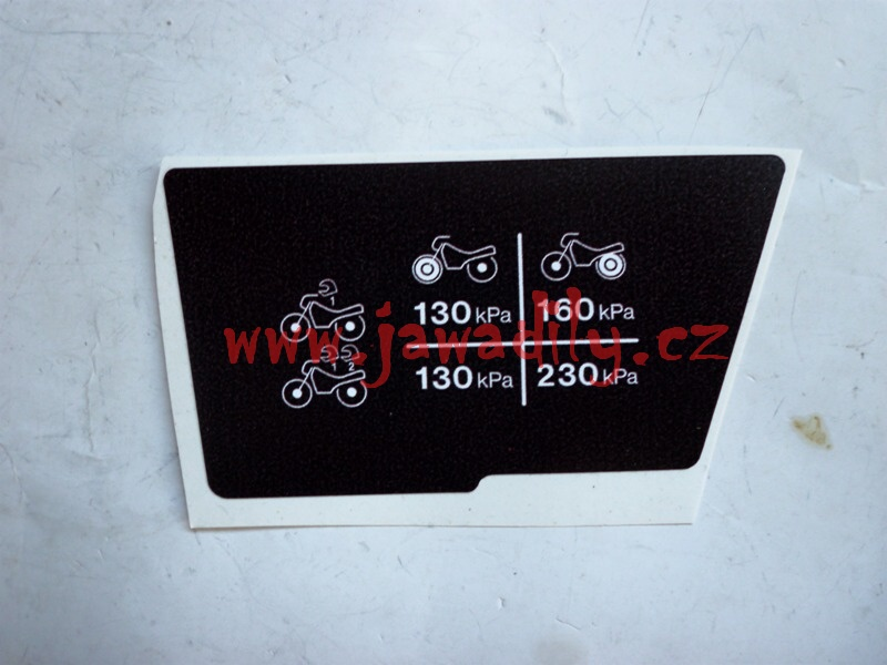 Nálepka pneu tlak (levá) - Jawa 350/640