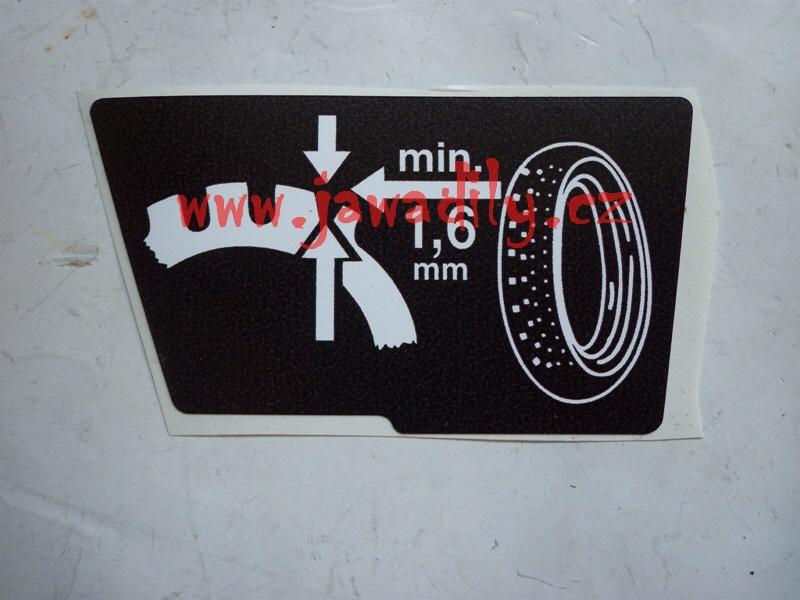 Nálepka pneu vzorek (pravá) - Jawa 350/640