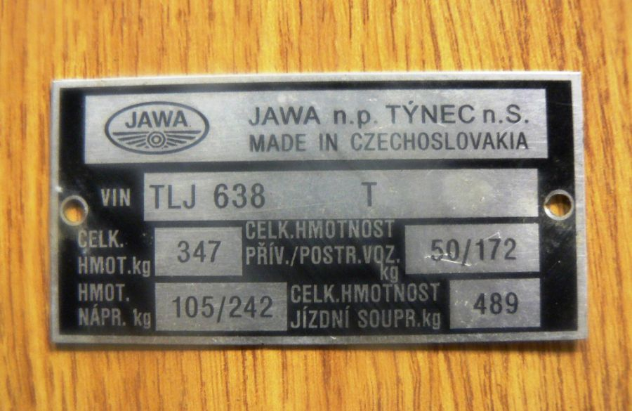 Typový štítek - Jawa 350/638