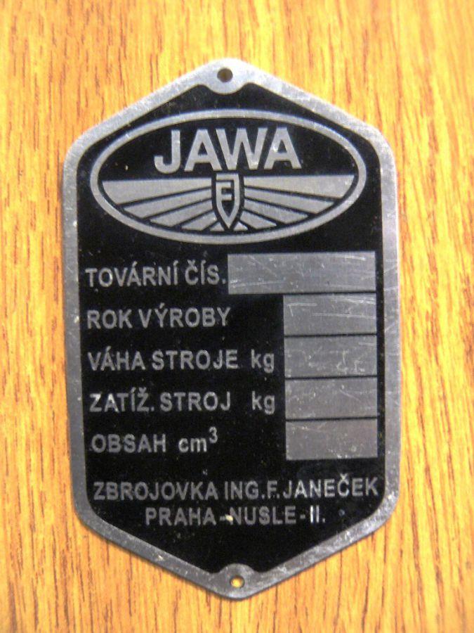 Typový štítek - Jawa Pérák - Janeček